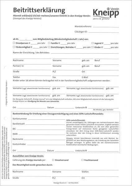Beitrittserklärung mit Durchschlag, DIN A4