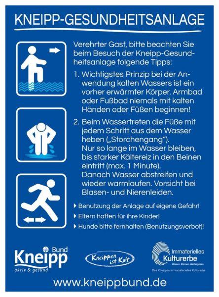 """Benutzerhinweisschild """"Wassertreten"""" mit Bildern"""