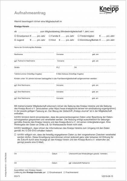 Aufnahmeantrag Kneipp-Verein