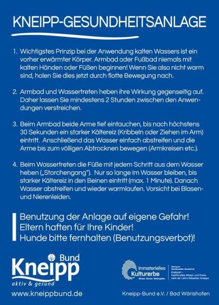 """Benutzerhinweisschild """"Armbad und Wassertreten"""""""