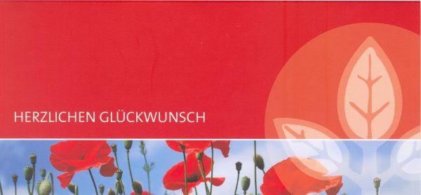 Glückwunschkarte rot, inkl. Kuvert